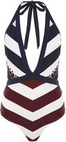 Ted Baker Rowing stripe plunge swimsuit