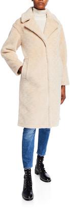 Derek Lam 10 Crosby Notch Collar Lamb Shearling Long Coat