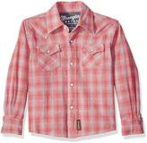 Wrangler Boys' Retro Long Sleeve Two Flap Pockets Snap Front Shirt