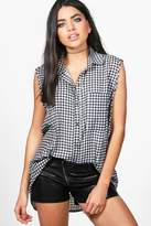 boohoo Kylie Sleeveless Gingham Shirt multi