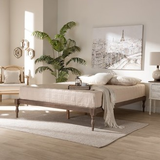 Baxton Studio Iseline Modern and Contemporary Antique Oak Finished Wood Queen Size Platform Bed Frame