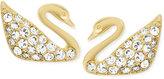 Swarovski Gold-Tone Crystal Pavé Swan Stud Earrings