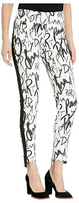 Lisette L Montreal Fun Party Print Pull-On Ankle Pants with Side Stripe (White/Black) Women's Casual Pants