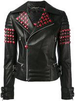 Philipp Plein studded hearts biker jacket - women - Lamb Skin/Polyester/Spandex/Elastane - S