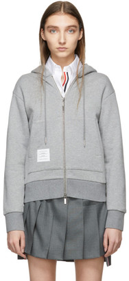 Thom Browne Grey Stripe Zip-Up Hoodie