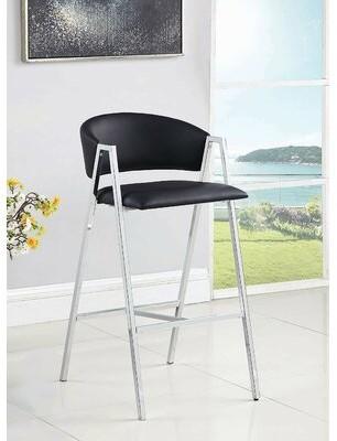 """Orren Ellis Wayzata Bar & Counter Stool Color: Black, Seat Height: Bar Stool (29"""" Seat Height)"""