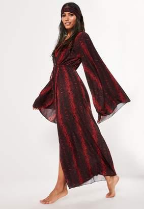 Missguided Red Animal Print Head Tie & Kimono Set