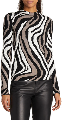 Proenza Schouler White Label Zebra Jacquard Long-Sleeve Top