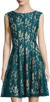 Gabby Skye Lace-Overlay Fit-and-Flare Dress, Hunter/Nude