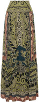 Etro Paisley-print Silk Maxi Skirt - Sage green