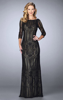 La Femme 24855 Quarter Sleeve Sheer Lace Evening Gown