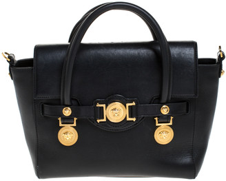 Versace Black Leather Small Medusa Medallion Tote