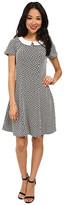 Yumi Monochrome Collared Dress w/ Geo Jacquared Texture Pattern
