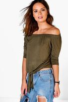Boohoo Martha Tie Front Off The Shoulder Top