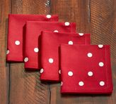 Pottery Barn Embroidered Polka Dot Cocktail Napkins, Set of 4