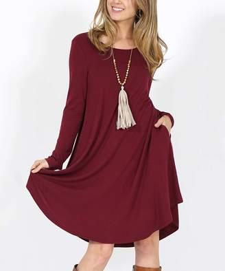 Lydiane Women's Casual Dresses DK - Dark Burgundy Crewneck Long-Sleeve Curved-Hem Pocket Tunic Dress - Women