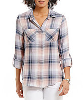 Westbound Point Collar Roll-Tab Sleeve Dual Pocket Plaid Shirt
