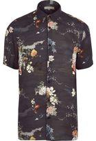River Island MensNavy fish print casual short sleeve shirt