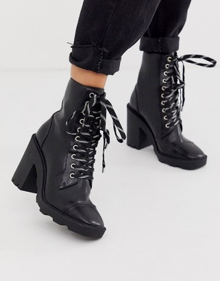 Head Over Heels By Dune Ole heeled chunky ankle boots with contrast lace