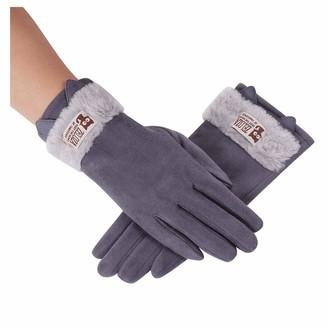 HUYURI Women Cartoon Cute Cat Ear Winter Fleece Thermal Gloves Thicken Warm Mittens Dark Gray