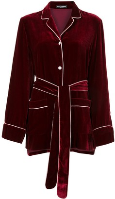 Dolce & Gabbana Belted Velvet Blouse