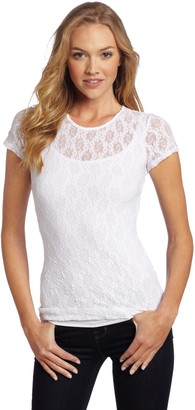 Only Hearts Women's Stretch Lace Cap Sleeve Crew Neck Top