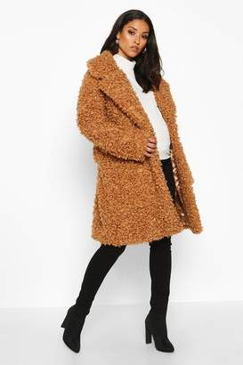 boohoo Maternity Teddy Faux Fur Wrap Coat