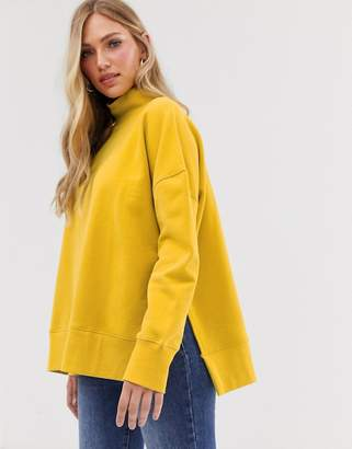 French Connection high neck side split sweat-Yellow