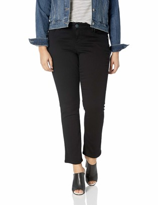 SLINK Jeans Women's Plus Size Solid Black STRAIGHTLEG 16
