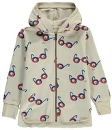 Bobo Choses Organic Cotton Glasses All Over Zip-Up Hooded Sweatshirt