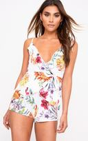 PrettyLittleThing White Floral Ruffle Wrap Playsuit