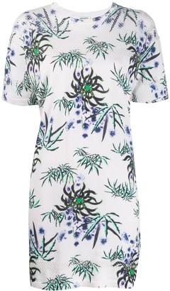 Kenzo floral-print eyelet-knit T-shirt dress