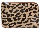 Diane von Furstenberg Women's Medium Genuine Calf Hair & Leather Zip Pouch - Brown