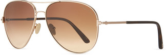 Tom Ford Clark Metal Aviator Sunglasses, Brown/Gold