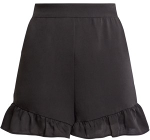 BCBGMAXAZRIA Ruffled-Hem Satin Shorts