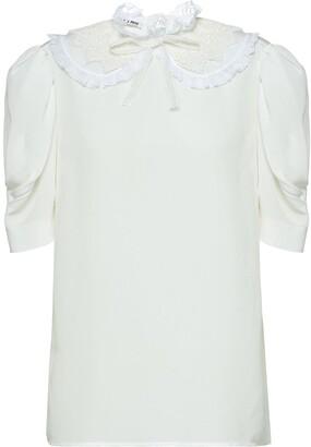 Miu Miu Lace-Trim Short-Sleeve Blouse