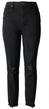 Tinseltown Juniors' Destructed Mom Jeans