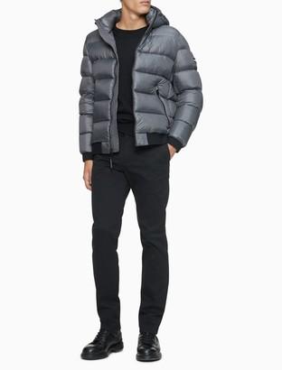 Calvin Klein Solid Logo Down Blend Hooded Puffer Jacket