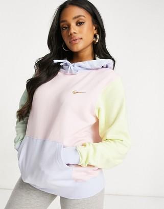 Nike mini metallic swoosh oversized pastel colour block hoodie