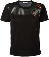 RED Valentino ladybird sheer panel T-shirt - women - Cotton/Polyamide - M