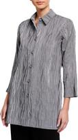 Caroline Rose Plus Size Gingham Crinkled Tunic Shirt