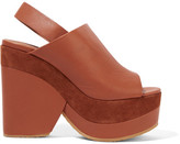 See by Chloe Suede-trimmed Leather Platform Sandals - Brown