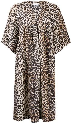 Ganni Leopard-Print Oversized Dress