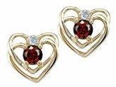 Tommaso design Studio Tommaso Design Round 4mm Genuine Garnet and Diamond Heart Earrings 14k