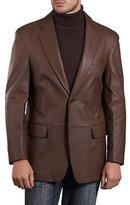 Fadcloset Mens Lambskin Choco Leather Blazer