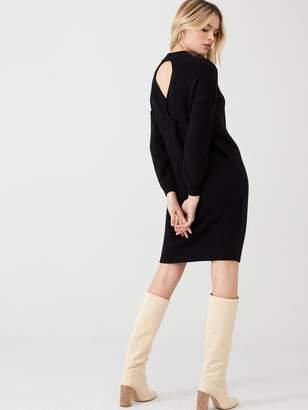 Very Twist Back Knitted Dress - Black