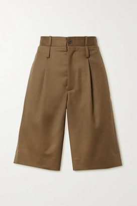 Commission Pleated Wool-twill Shorts - Brown