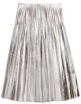 Gucci Metallic leather plissé skirt