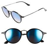 Ray-Ban Men's 49Mm Round Sunglasses - Shiny Black/ Blue Mirror