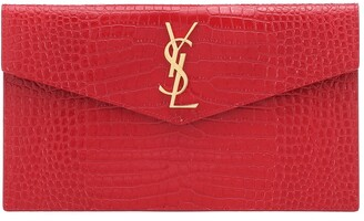 Saint Laurent Uptown croc-effect leather clutch